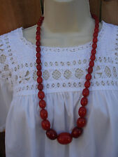 VINTAGE COLLECTIBLE EGGS BEADED COLOR AMBER BROWN  BAKELITE NECKLACE