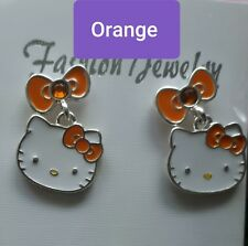 Hello Kitty, Stud Earrings, Ring, Orange, Authentic Sanrio, Silver plated