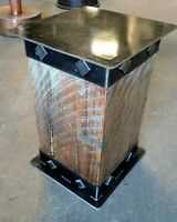 Rustic Farmhouse Iron Steel Hardwood Side Table