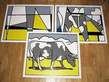 """3 x ROY LICHTENSTEIN POSTER TRIPTYCHON """" COW GOING ABSTRACT """" POP ART in MINT"""