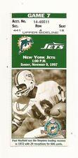 11/9/97 Miami Dolphins vs New York Jets Ticket Stub Paul Warfield