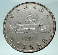 1951 CANADA UK Queen Elizabeth II Canoe Crew Large SILVER Dollar Coin i82257