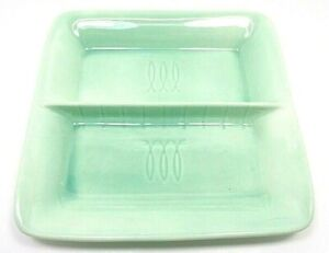 VINTAGE STANGL USA POTTERY SQUARE DIVIDED SERVING DISH CELADON GREEN TOASTMASTER