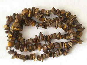 """1 STRING OF TIGERS EYE LARGE STONE CHIP BEADS 36"""" LONG ST049"""