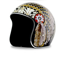DOT Motorcycle Helmet Open Face Indian Chief Print Cruiser Scooter Street Bike