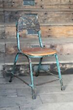 industrial blue metal wood chairs - urban wood chairs - industrial design -