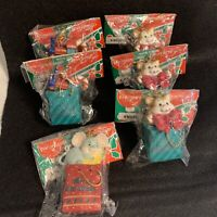 Vintage Polyresin Christmas Ornaments Cat Mouse And Train In Gift Bag (lot Of 6)
