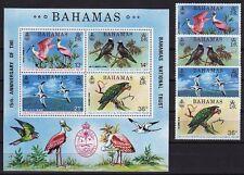 Bahamas 1974 Mi. 370-73, Bl. 11 ** Vögel / Birds National Trust MNH