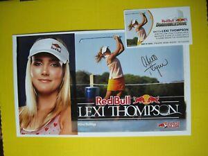 Lexi Thompson Signed Red Bull Poster Red Bull Card LPGA Golf US Open Revel Ocean