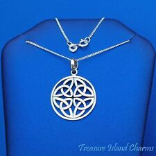 """Celtic Trinity Triquetra Knot Round Pendant 925 Sterling Silver Necklace 16"""" 18"""""""