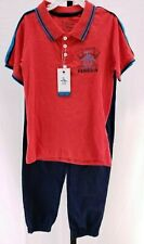 Nwt Original Penguin Junior Polo & Pants Outfit Red Navy Boy's Sz 5 New $46