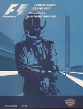 2003 Formula-1 United States Grand Prix Program F-1 Michael Schumacher Ferrari