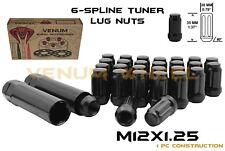Black 12x1.25 Chrome Spline Lug Nuts +Keys For 5 Lug Nissan Maxima Altima 370Z