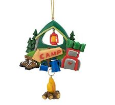 """Jwm Collection Camping Ornament 4.25"""" Green Tent with Supplies Campers"""