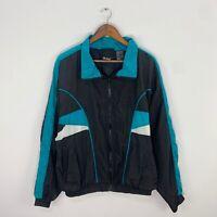 VTG 90s MacGregor Black/Multicolor Full Zip Windbreaker Jacket Mens Sz Large