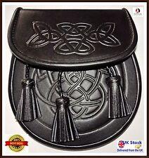 Scottish Black Leather Sporran , Embossed,Free Chain Belt Leather Kilt Sporran