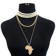 NEW ICED OUT AFRICA MAP PENDANT & PEARL CHOKER & CUBAN CHAIN NECKLACE SET MS3031