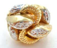 10K Yellow & White Gold Ring by Michael Anthony Dome Diamond Cut Size 9 Jewelry