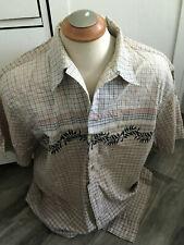 Pendleton Men's Checks Beige w/ Leafs Iron On S/S Shirt Size XL