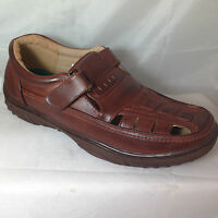 MENS tan SANDALS JESUS INTERLACED ENCLOSED TOE FAUX leather GEEK touch fasten