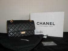Chanel reissue 2.55 black designer handbag size 225 with gold chain
