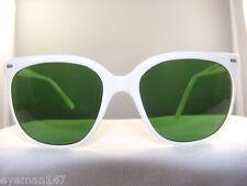 """Vintage Maui Jim """"CAT EYE"""" WHITE FRAME /Green Lenses 73% 100% UV PROTECTION"""