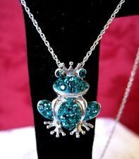 NWT 925 STERLING SILVER FROG PRINCESS GREEN SWAROVSKI ELEMENTS PENDANT NECKLACE