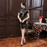 Chinese Traditional Short Cheongsam Women Silk Satin Mini Dress Party Gown S-6XL