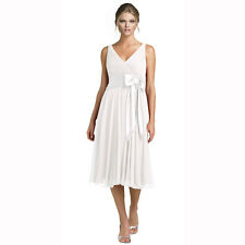 Rhinestone Chiffon Cocktail Party Bridesmaid Dress Ivory Size AU 6