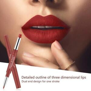 Double Head Matte Lipstick Lip Liner Pencil Pen Waterproof Lips Makeup Miss US