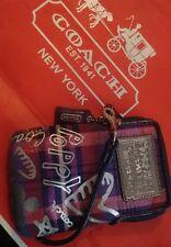 COACH Poppy Tartan Plaid Purple/Pink Heart Graffiti Universal Case Wristlet