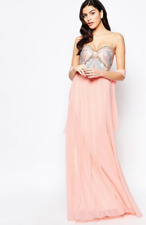 BNWT Forever Unique Lilian Embellished Bandeau Maxi Dress Pink UK 14 RRP £330