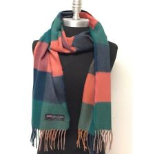 Women's 100% CASHMERE SCARF Check Plaid Green Teal Coral Scotland Warm SOFT Wrap