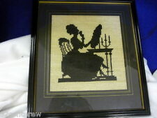 Antique Victorian Cross Stitch Silhouette Lady At Makeup Vanity Framed 14 X 13