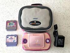 Vtech V.Smile Cyber Pocket Learning System Pink Console Case Charger & 2 Games