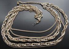 Vintage Multi Strand Elegante Collar Cadena de oro de tono estilo 1960s-C599