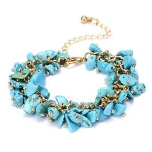 Natural Crystal Stone Chipped Raw Bracelet Women Quartz Bangle Lucky Jewelry New