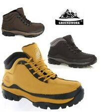 MENS SAFETY BOOTS STEEL TOE CAP GROUNDWORK WORK LEATHER HIKING SHOES UK 7-12