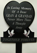 Memorial Plaque Grave Heart Personalised GRAN & GRANDAD  In Loving Memory