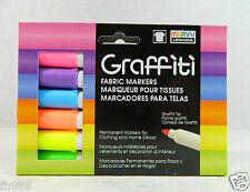 Fluorescent Set (6 pc) Marvy Uchida Graffiti Fabric Permanent Markers