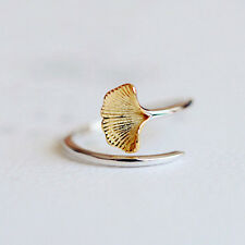925 Silver Golden Ginkgo Leaf Ring Women Wedding Jewelry Adjustable Open Ring