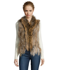 Linda Richards Luxury Rex Rabbit Na Raccoon Fur Vest Fringe Bottom Medium Beige