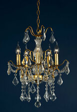 DUSX Charlotte Antique Gold Crystal Glass French 5 Arm Chandelier Ceiling Light