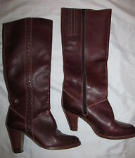vintage 70's Imperial knee high heel chestnut brown leather zip boots Brazil 5.5