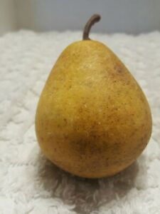 Early Antique Italian Alabaster Stone Fruit   speckled yellow Pear Great Patina