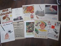 JOB LOT OF 10 VINTAGE MAGAZINE ADVERT PRINTS - KLEENEX PARKER MURRAYMINTS ETC