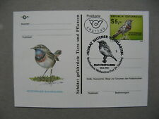 AUSTRIA, privat ill. PC FDC CTO 1992, bird red breasted blue throat
