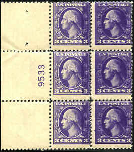 #530a Plate block of 6, 5 stamps NH PF Certificate # 526222