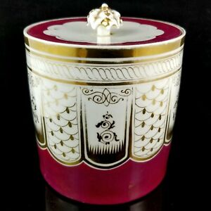 Antique OLD PARIS French PORCELAIN BISCUIT JAR gold fuchsia victorian cookie box