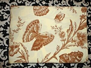VINTAGE 79' ANGELO DONGHIA BUTTERFLIES BROWN FLORAL (1) TWIN FLAT SHEET 66 X 96